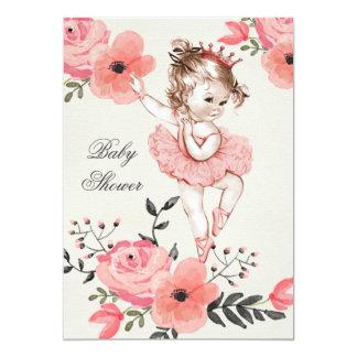A aguarela chique da bailarina floresce o chá de convite 12.7 x 17.78cm