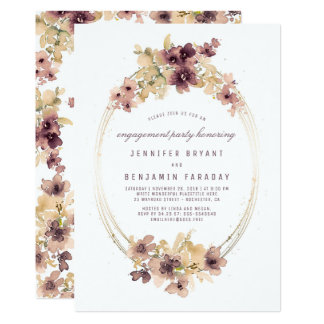 A aguarela do vintage floresce a festa de noivado convite 12.7 x 17.78cm