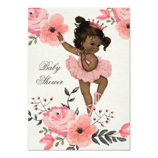 A aguarela étnica da bailarina floresce o chá de convite 12.7 x 17.78cm