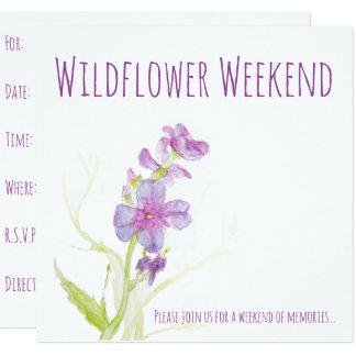 A aguarela floral floresce flores pintadas roxo convite quadrado 13.35 x 13.35cm