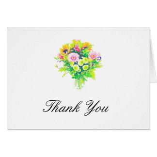 A aguarela floresce cartões de agradecimentos