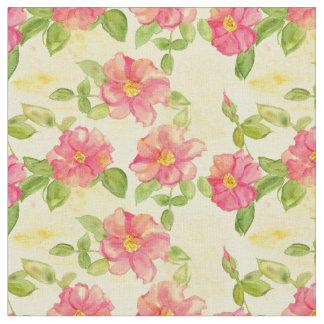 A aguarela selvagem cor-de-rosa dos rosas floresce tecido