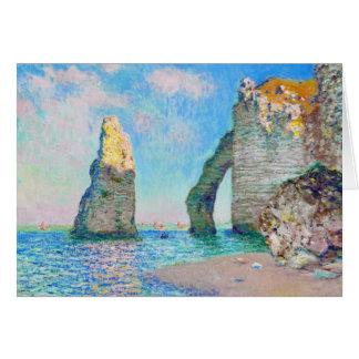 A agulha da rocha e o Porte Claude Monet d'Aval Cartão De Nota