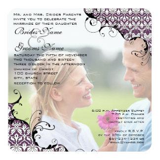 A ameixa seu casamento da foto convida-me casa meu convite quadrado 13.35 x 13.35cm