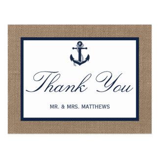 A âncora do marinho na coleção do casamento de cartoes postais