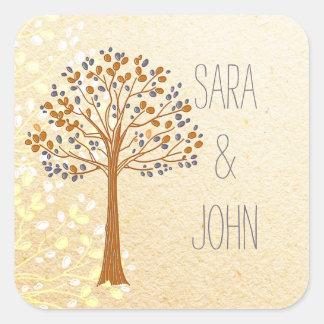 a árvore da queda, casamento rústico favorece adesivo quadrado
