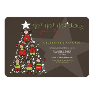 A árvore de Natal lunática caçoa a festa natalícia Convite 12.7 X 17.78cm