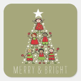 A árvore de Natal Sparkling caçoa a etiqueta do Adesivo Quadrado