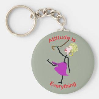 A atitude é tudo - mulher superior chaveiro