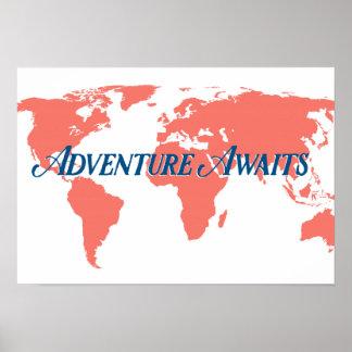 A aventura espera o poster decorativo pôster