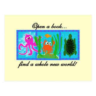 A aventura submarina abre um livro cartão postal