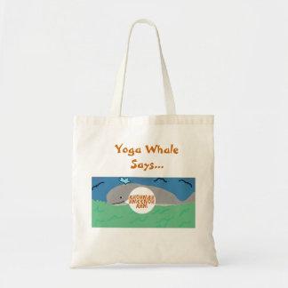 A baleia da ioga diz bolsa tote