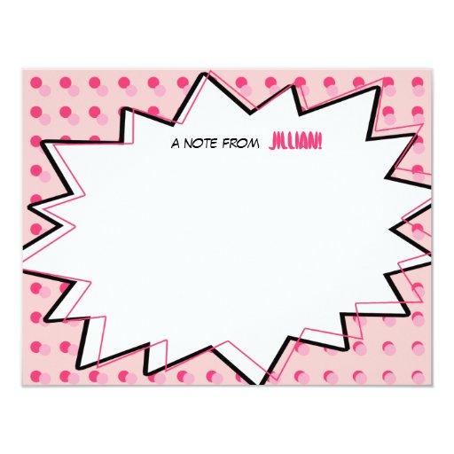 A banda desenhada cor-de-rosa do pop art inspirou convite 10.79 x 13.97cm