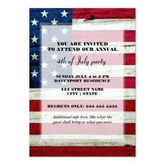 A bandeira americana 4o do partido de julho convite 12.7 x 17.78cm