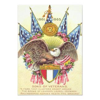 A bandeira americana da águia americana aumentou convite 12.7 x 17.78cm