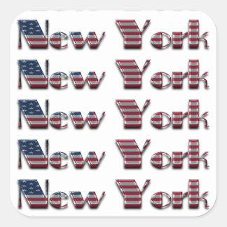 A bandeira americana de New York EUA colore a Adesivo Quadrado