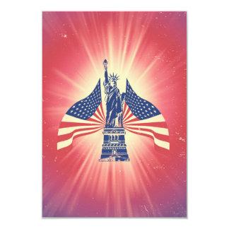 A bandeira americana e a estátua da liberdade convite 8.89 x 12.7cm