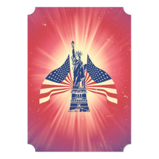 A bandeira americana e a estátua da liberdade convite 12.7 x 17.78cm