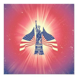 A bandeira americana e a estátua da liberdade convite quadrado 13.35 x 13.35cm