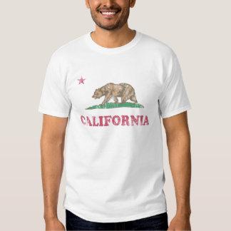 A bandeira de Califórnia retro desvanece-se T-shirts