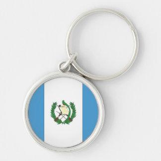 A bandeira de Guatemala Chaveiro Redondo Na Cor Prata