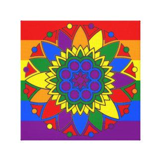 A bandeira do orgulho gay colore a mandala LGBT Impressão Em Tela