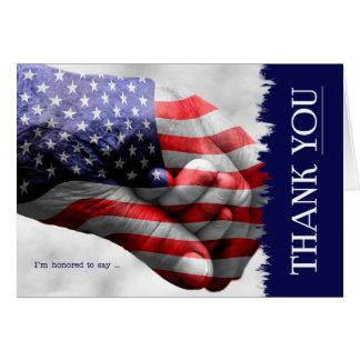 A bandeira dos Estados Unidos agradece-lhe em Cartão Comemorativo
