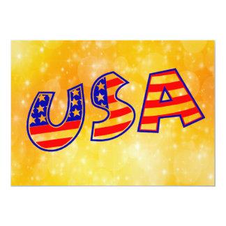 A bandeira legal de América rotula o ouro na moda Convite 12.7 X 17.78cm