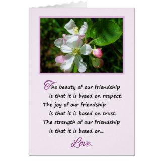 A beleza de nossa amizade… cartão comemorativo
