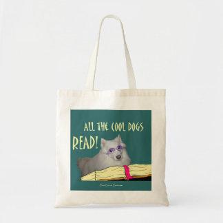 A biblioteca - Samoyed - cães legal leu a instruçã Sacola Tote Budget