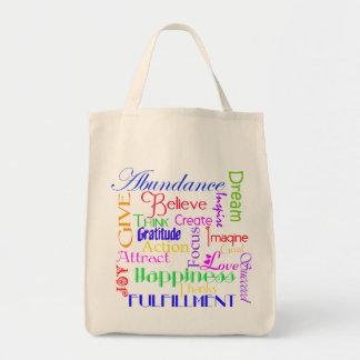A bolsa de canvas inspirador da colagem da palavra