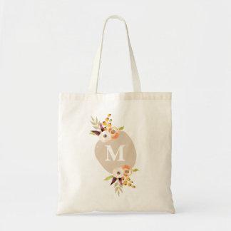 A bolsa de canvas personalizada floral do