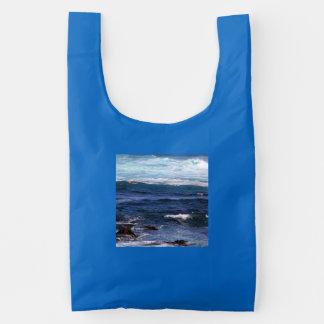 A bolsa de compra lavável reusável das ondas