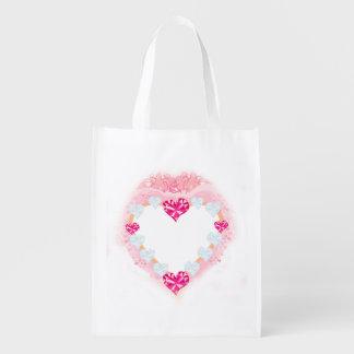 a bolsa de compra reusável do coração cor-de-rosa sacola ecológica