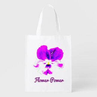 A bolsa de compra reusável vibrante de flower sacola ecológica para supermercado