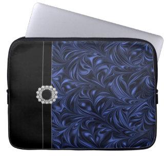 A bolsa de laptop do preto de azuis marinhos capa para notebook