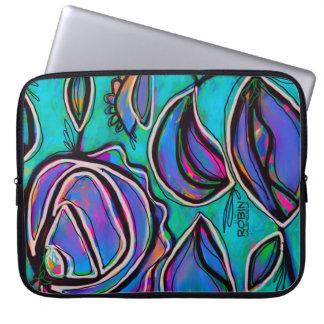 A bolsa de laptop floral abstrata capa para computador