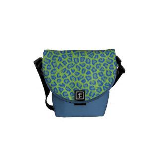 A bolsa mensageiro azul & verde do impressão do