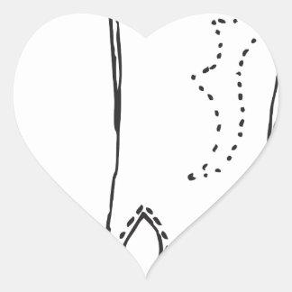 A bota de couro adesivo coração