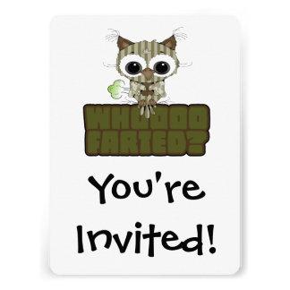 A buzina engraçada de Whooo da coruja Farted Convite Personalizado