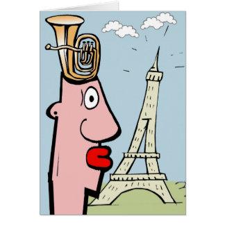 A cabeça da tuba visita Paris Cartão Comemorativo