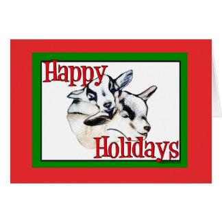 A cabra do pigmeu caçoa o Natal do feriado do Cartão Comemorativo