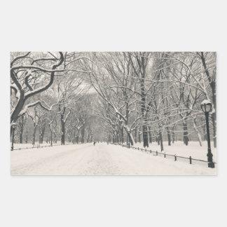 A caminhada do poeta - inverno do Central Park Adesivo Retangular