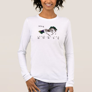A camisa das mulheres com design 2014 do cavalo do
