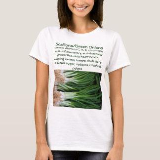 A camisa das mulheres dos Scallions/cebolas verdes