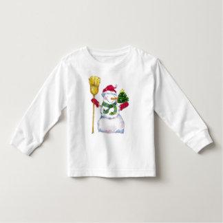 A camisa do miúdo do boneco de neve do feriado do t-shirt