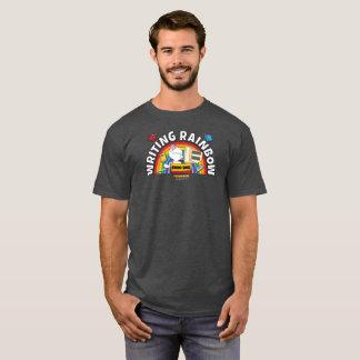 A camisa dos homens do arco-íris da escrita