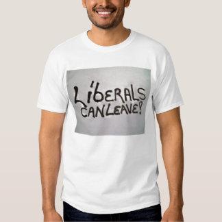 A camiseta com LIBERAIS PODE SAIR! na parte