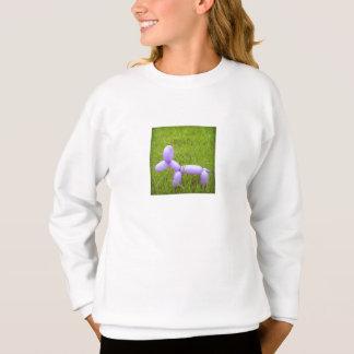 A camisola da menina do cão do balão tshirt