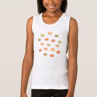 A camisola de alças das meninas da abóbora t-shirts